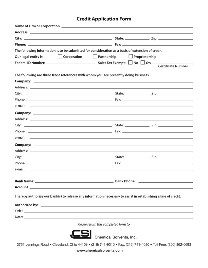 application for a credit